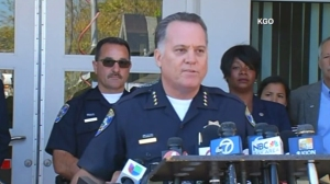 """Santa Cruz Police Department Chief Kevin Vogel speaks at a news conference July 28, 2015, on the killing of Madyson """"Maddy"""" Middleton. (Credit: KGO via CNN)"""
