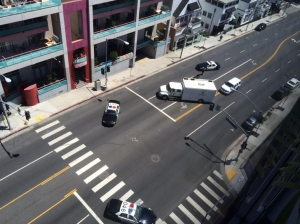 A bomb squad responded to the Sunset Strip on July 17, 2015. (Credit: @moderntuba)