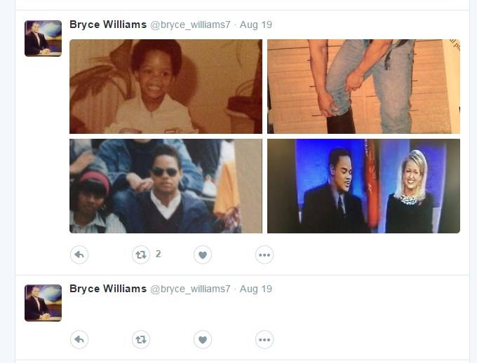 Another screenshot shows photos tweeted by the @bryce_williams7 account on Aug. 19, 2015.