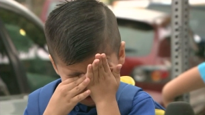 Andrew Macias teared up suddenly as he talked to KTLA about his his first day of pre-kindergarten in East L.A. on Aug. 18, 2015. (Credit: KTLA)