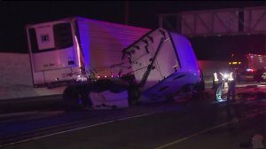 Several lanes were closed on the 210 Freeway after a crash involving a big rig on Aug. 3, 2015. (Credit: KTLA)