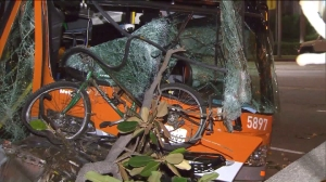 A bus crashed into a tree before hitting a power pole in Westwood, leaving 13 people hurt on Aug. 22, 2015. (Credit: KTLA)