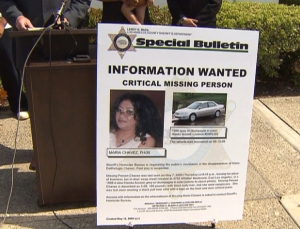 Maria Delrefugio Chavez is shown in a photo displayed at a May 2009 news conference on her disappearance. (Credit: KTLA)
