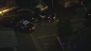A driver surrendered to sheriff's deputies after a pursuit through El Monte on Aug. 4, 2014. (Credit: KTLA)