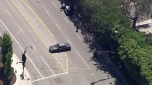 A vehicle used after an armed robbery at Westfield Century City was found abandoned on Aug. 24, 2015. (Credit: KTLA)