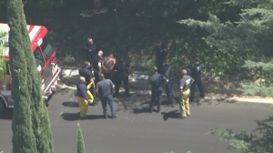 One man appeared to be detained in Beverly Glen after three small fires on Aug. 27, 2015. (Credit: KTLA)