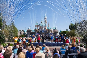 Mickey Mouse and his friends celebrate the 60th anniversary of Disneyland park during a ceremony at Sleeping Beauty Castle on July 17, 2015. (Credit: Paul Hiffmeyer/Disneyland Resort via Getty Images)