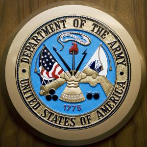 The U.S. Department of the Army logo hangs on the wall February 24, 2009, at the Pentagon in Washington,DC. (Credit: PAUL J. RICHARDS/AFP/Getty Images)