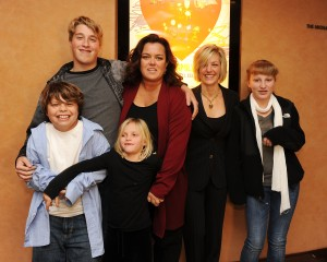 "Blake O'Donnell, Parker O'Donnell, Vivi O'Donnell, executive producer Rosie O'Donnell, Kelli O'Donnell, and Chelsea O'Donnell attend the HBO documentary screening of ""A Family is a Family: A Rosie O'Donnell Celebration"" at the HBO Theater on January 19, 2010, in New York City. (Credit: Stephen Lovekin/Getty Images for HBO)"