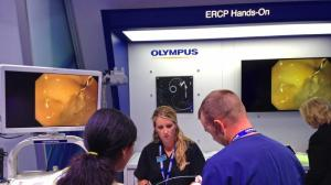 Huntington Memorial Hospital in Pasadena has notified patients that they may have been infected by a contaminated medical scope made by Olympus Corp. Above, Olympus showcases its ERCP scopes at a Washington medical conference in May. (Credit: Chad Terhune/Los Angeles Times)