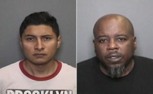 Miguel Gomez Villa, left, and Jerro Roderick are seen in booking photos. (Credit: Orange Police Department)