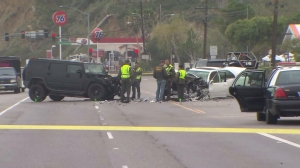 Authorities respond to the scene of a Feb. 7, 2015, crash on PCH in Malibu involving Caitlyn Jenner. (Credit: KTLA)