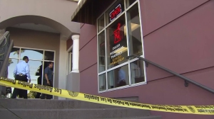 A report of a robbery at this pharmacy preceded the police shooting on Aug. 12, 2015. (Credit: KTLA)