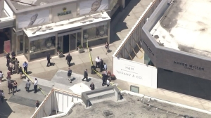 LAPD was responding to a robbery at a Rolex store in Century City on Aug. 24, 2015. (Credit: KTLA)