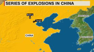 A map shows the location of the Chinese port city of Tianjin, where a massive explosion occurred Aug. 12, 2015. (Credit: CNN)