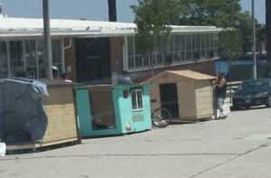 A photo provided to KTLA shows tiny houses created in San Pedro on Aug. 11, 2015.
