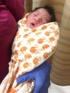 A baby found left alone in South L.A. on Aug. 4, 2015, is shown in a photo released by LAPD.