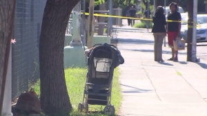 An abandoned baby was found in a stroller across from the South L.A. church on Aug. 4, 2015. (Credit: KTLA)