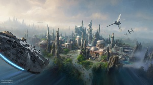 """New lands at Disneyland and Walt Disney World will be based on a """"Star Wars"""" planet, seen here in an artist's rendering. (Credit: Walt Disney Company)"""