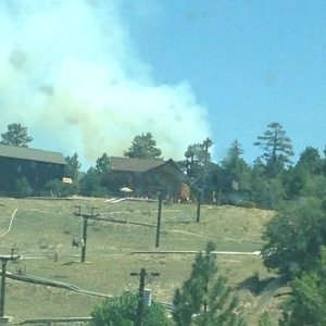 In this viewer photo, the Summit Fire could be seen near Big Bear City.
