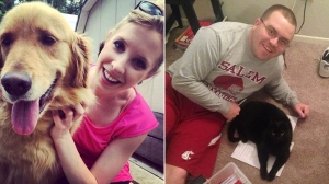 Alison Parker, left, and Adam Ward, right, are shown in photos posted to Facebook. Both WDBJ employees were killed Aug. 26, 2015, in shooting.