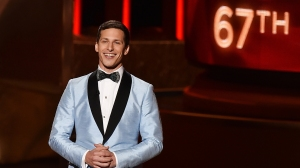 Host Andy Samberg speaks onstage during the 67th Annual Primetime Emmy Awards at the Microsoft Theater on Sunday, Sept. 20, 2015, in Los Angeles. (Credit: Kevin Winter/Getty Images)