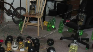 Spherical bombs and bullet-filled jars are seen in the apartment of convicted murderer James Holmes. (Credit: Aurora Police Department)
