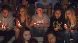 Friends, family members and classmates gathered at Camarillo High School to remember former student Daniel Morales on Sept. 1, 2015. (Credit: KTLA)