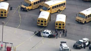 Body of special-needs student found on school bus in district parking lot in Whittier on Sept. 11, 2015. (Credit: KTLA)