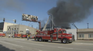A fire is seen at a commercial building in Culver City on Sept. 19, 2015. (Credit: KTLA)