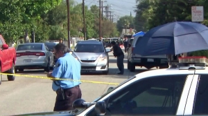 Authorities investigate a shooting in El Monte on Sept. 9, 2015. (Credit: KTLA)