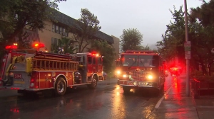 Residents were being evacuated from a flooded building in West Hollywood on Sept. 15, 2015. (Credit: KTLA)