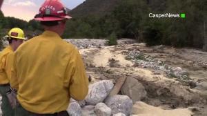 Rescue crews responded to Mill Creek Wash in the Forest Falls area on Sept. 8, 2015, after a man got swept away in a flash flood. (Credit: CasperNews)