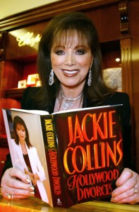 """Author Jackie Collins is seen at Chopard Jewelers, which along with Angeleno Magazine hosted a party to celebrate the West Coast launch of her book """"Hollywood Divorces"""" on Monday, Dec. 8, 2003, in Beverly Hills. (Credit: Frazer Harrison/Getty Images)"""