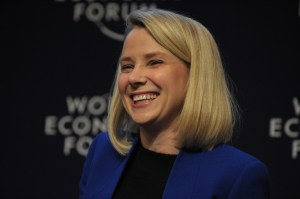 """Yahoo CEO Marissa Mayer takes part in the session """"the new digital context"""" on the opening day of the World Economic Forum in Davos on Jan. 22, 2014.  (Credit: ERIC PIERMONT/AFP/Getty Images)"""