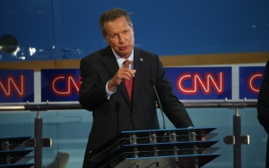 Gov. John Kasich of Ohio, a Republican presidential candidate, speaks onstage during the Republican presidential debates at the Reagan Library on Wednesday, Sept. 16, 2015, in Simi Valley. (Credit: Justin Sullivan/Getty Images)