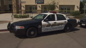 A sheriff's vehicle is seen outside the Riverside County Department of Animal Services' Jurupa Valley shelter on Sept. 13, 2015, after an apparent break-in led to the death of four dogs. (Credit: KTLA)