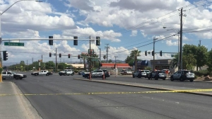 A man with a semiautomatic handgun ambushed two officers who'd stopped their patrol car at a traffic light in Las Vegas on Sunday, Sept. 6, 2015, police said. (Credit: Las Vegas Police Department)