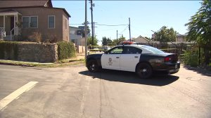Police responded after a shooting in Lincoln Heights on Sunday, Sept. 20, 2015. (Credit: KTLA)