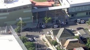Dr. Maya Angelou Community High School was placed on lockdown during a police investigation on Sept. 29, 2015. (Credit: KTLA)