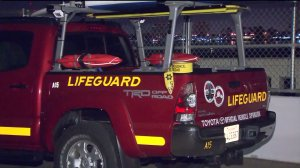 Los Angeles County lifeguards and sheriff's deputies responded after a man's body was discovered on a jetty in Ballona Creek on Sunday, Sept. 27, 2015. (Credit: KTLA)