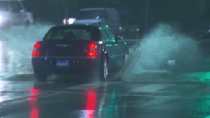Rain left many Southern California roads soaked in the early morning hours of Sept. 15, 2015, creating dangerous driving conditions for motorists. (Credit: KTLA)