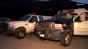Los Angeles County sheriff's vehicles are seen in the Angeles National Forest above San Dimas after a man's body was discovered on Saturday, Sept. 19, 2015. (Credit: RMG News)