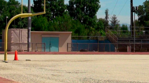El Camino Real High is replacing its all-weather football field after issues involving pellets melting. It's one of five LAUSD high school fields being replaced. (Credit: Eric Sondheimer / Los Angeles Times)