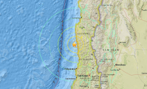 A magnitude-8.3 earthquake struck off the coast of Chile on Sept. 16, 2015. (Credit: USGS)