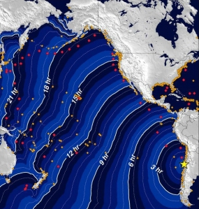 A map shows the progress of a tsunami from the epicenter of the quake in Chile to the coast of California. (Credit: NOAA)