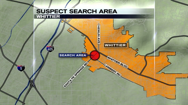 Whittier police were searching for a possibly armed man in the area pictured on Sept. 1, 2015. (Credit: KTLA)
