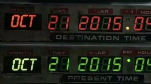 Doc Brown and Marty McFly hit 88 miles per hour in their flying DeLorean and arrived at 4:29 p.m. on Oct. 21, 2015. (Credit: NBCU)