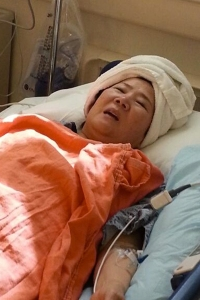 Bockhie Shim is seen in the hospital in a photo provided by her attorney Eric Dubin.