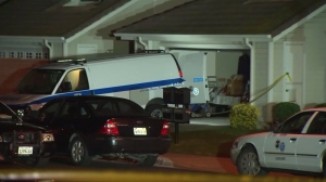 A homicide investigation was underway at a Hacienda Heights home on Oct. 8, 2015. (Credit: KTLA)